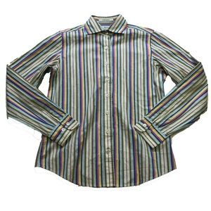 Faconnable Cotton Collared Stripe Button Down Top